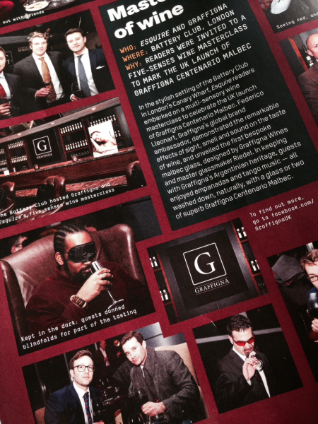 Wine tasting promotion for the Battery, London, in Esquire.