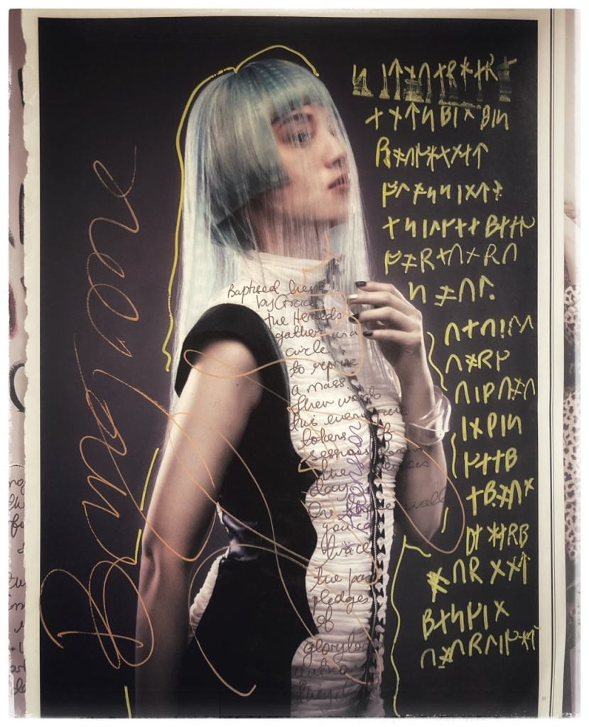 Runic script of poem on magazine page. Image from Tokyo Fashion Edge.