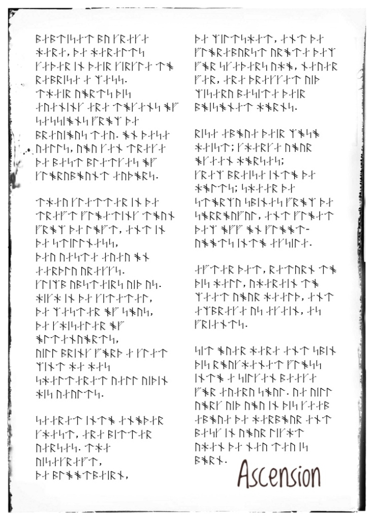 Runic transcription of poem - Ascension/Bring me higher