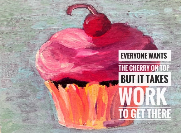 Cupcake - acrylic on unvarnished wood panel